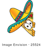 #25524 Clip Art Graphic Of A Crunchy Hard Taco Character Peeking Around A Corner