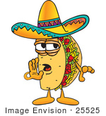 #25525 Clip Art Graphic Of A Crunchy Hard Taco Character Whispering And Gossiping