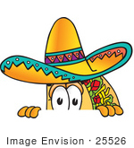 #25526 Clip Art Graphic Of A Crunchy Hard Taco Character Peeking Over A Surface