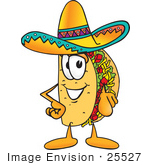 #25527 Clip Art Graphic Of A Crunchy Hard Taco Character Pointing At The Viewer