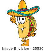 #25530 Clip Art Graphic Of A Crunchy Hard Taco Character Pointing Upwards