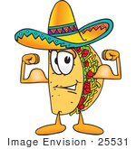 #25531 Clip Art Graphic Of A Crunchy Hard Taco Character Flexing His Arm Muscles