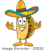 #25532 Clip Art Graphic Of A Crunchy Hard Taco Character With Welcoming Open Arms
