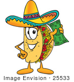 #25533 Clip Art Graphic Of A Crunchy Hard Taco Character Holding A Dollar Bill