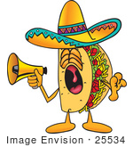 #25534 Clip Art Graphic Of A Crunchy Hard Taco Character Screaming Into A Megaphone