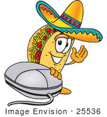 #25536 Clip Art Graphic Of A Crunchy Hard Taco Character With A Computer Mouse