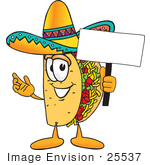 #25537 Clip Art Graphic Of A Crunchy Hard Taco Character Holding A Blank Sign