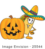 #25544 Clip Art Graphic of a Crunchy Hard Taco Character With a Carved Halloween Pumpkin by toons4biz