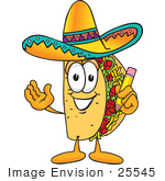 #25545 Clip Art Graphic Of A Crunchy Hard Taco Character Holding A Pencil