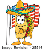 #25546 Clip Art Graphic Of A Crunchy Hard Taco Character Pledging Allegiance To An American Flag