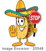 #25548 Clip Art Graphic Of A Crunchy Hard Taco Character Holding A Stop Sign