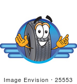 #25553 Clip Art Graphic Of A Tire Character Logo