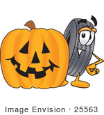 #25563 Clip Art Graphic Of A Tire Character With A Carved Halloween Pumpkin