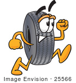 #25566 Clip Art Graphic Of A Tire Character Running