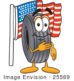 #25569 Clip Art Graphic Of A Tire Character Pledging Allegiance To An American Flag