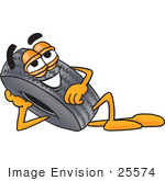 #25574 Clip Art Graphic Of A Tire Character Resting His Head On His Hand