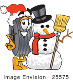#25575 Clip Art Graphic Of A Tire Character With A Snowman On Christmas