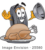 #25580 Clip Art Graphic Of A Tire Character Serving A Thanksgiving Turkey On A Platter
