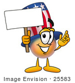 #25583 Clip Art Graphic Of A Patriotic Uncle Sam Character Holding A Blank Sign