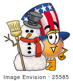 #25585 Clip Art Graphic Of A Patriotic Uncle Sam Character With A Snowman On Christmas