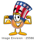 #25586 Clip Art Graphic Of A Patriotic Uncle Sam Character Flexing His Arm Muscles