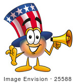 #25588 Clip Art Graphic Of A Patriotic Uncle Sam Character Holding A Megaphone