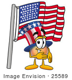 #25589 Clip Art Graphic Of A Patriotic Uncle Sam Character Pledging Allegiance To An American Flag