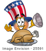 #25591 Clip Art Graphic Of A Patriotic Uncle Sam Character Serving A Thanksgiving Turkey On A Platter