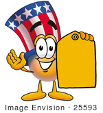 #25593 Clip Art Graphic Of A Patriotic Uncle Sam Character Holding A Yellow Sales Price Tag