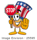 #25595 Clip Art Graphic Of A Patriotic Uncle Sam Character Holding A Stop Sign