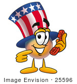 #25596 Clip Art Graphic Of A Patriotic Uncle Sam Character Holding A Telephone