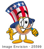 #25599 Clip Art Graphic Of A Patriotic Uncle Sam Character Looking Through A Magnifying Glass