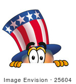 #25604 Clip Art Graphic Of A Patriotic Uncle Sam Character Peeking Over A Surface