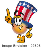 #25606 Clip Art Graphic Of A Patriotic Uncle Sam Character Pointing Upwards