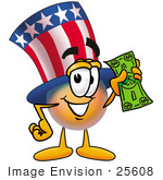 #25608 Clip Art Graphic Of A Patriotic Uncle Sam Character Holding A Dollar Bill