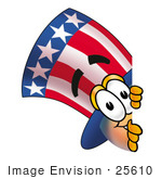 #25610 Clip Art Graphic Of A Patriotic Uncle Sam Character Peeking Around A Corner