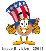 #25613 Clip Art Graphic Of A Patriotic Uncle Sam Character Holding A Pencil