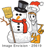#25619 Clip Art Graphic Of A Wrench Tool Character With A Snowman On Christmas