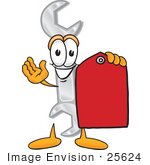 #25624 Clip Art Graphic Of A Wrench Tool Character Holding A Red Sales Price Tag