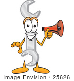 #25626 Clip Art Graphic Of A Wrench Tool Character Holding A Megaphone
