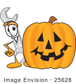 #25628 Clip Art Graphic Of A Wrench Tool Character With A Carved Halloween Pumpkin