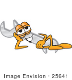 #25641 Clip Art Graphic Of A Wrench Tool Character Resting His Head On His Hand