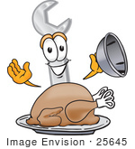 #25645 Clip Art Graphic Of A Wrench Tool Character Serving A Thanksgiving Turkey On A Platter