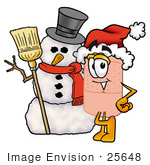 #25648 Clip Art Graphic Of A Bandaid Bandage Cartoon Character With A Snowman On Christmas