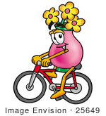 #25649 Clip Art Graphic Of A Pink Vase And Yellow Flowers Cartoon Character Riding A Bicycle