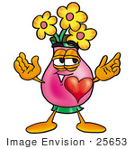 #25653 Clip Art Graphic Of A Pink Vase And Yellow Flowers Cartoon Character With His Heart Beating Out Of His Chest