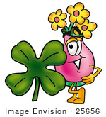 #25656 Clip Art Graphic Of A Pink Vase And Yellow Flowers Cartoon Character With A Green Four Leaf Clover On St Paddy'S Or St Patricks Day