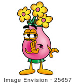#25657 Clip Art Graphic Of A Pink Vase And Yellow Flowers Cartoon Character Whispering And Gossiping