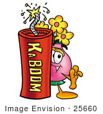#25660 Clip Art Graphic Of A Pink Vase And Yellow Flowers Cartoon Character Standing With A Lit Stick Of Dynamite