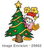 #25662 Clip Art Graphic of a Pink Vase And Yellow Flowers Cartoon Character Waving and Standing by a Decorated Christmas Tree by toons4biz